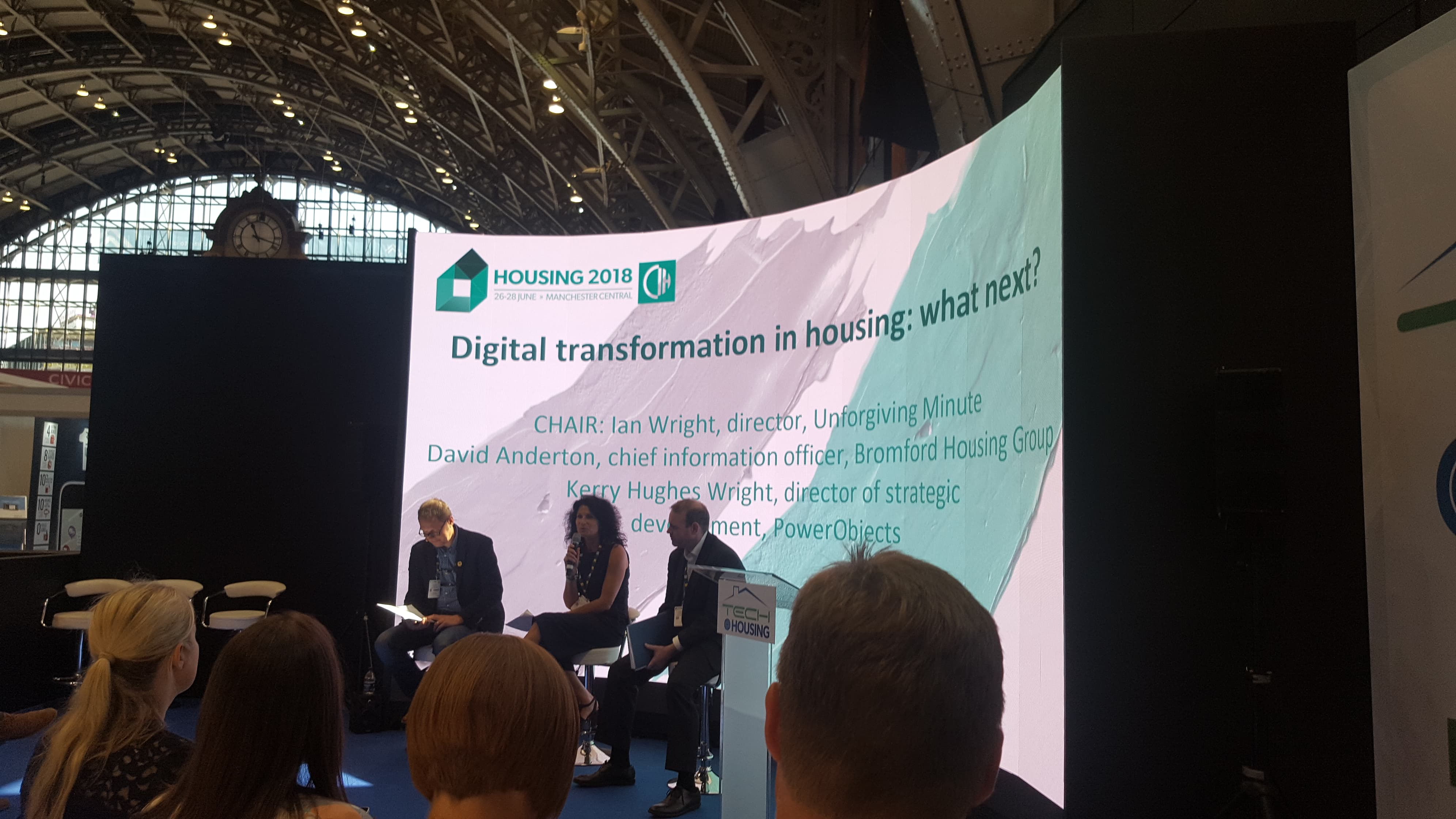 Ian Wright, Kerry Wright and David Anderton hosting a panal on Digital transformation in housing